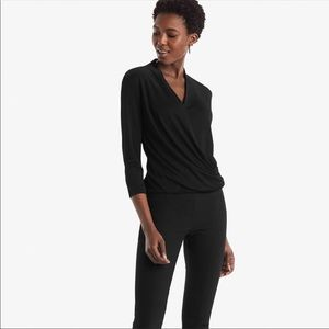 Mm lafleur black wrap blouse deneuve